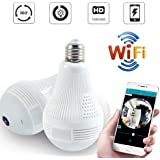 Quanmin HD 360° Wide Angle Fisheye Wireless Wi-fi E27 LED Light Bulb 960P VR Panoramic IP Camera for iOS Android Phone APP Ho