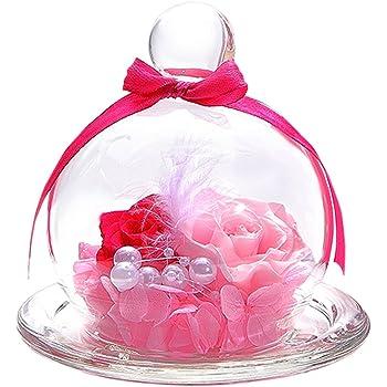 TEATSIGHT プリザーブドフラワー ガラスポット入り フラワーアレンジ 2輪 バラ ピンク