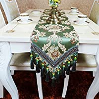 LXF テーブルランナー テーブルランナーサテンジャカード布アートダイニングテーブルコーヒーテーブルベッドフラグ靴キャビネットテーブルクロスグリーン (サイズ さいず : 30*45CM)