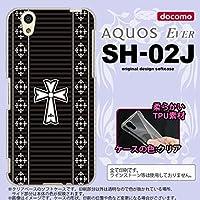 SH02J スマホケース AQUOS EVER SH-02J カバー アクオス エヴァー ゴシック 黒×白 nk-sh02j-tp1011