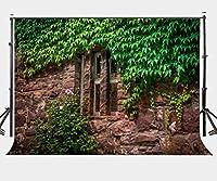 lylycty 7× 5ftポリエステル写真背景Stone House Plants Backdrop for Studio Props lyge372