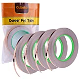 4 Pack Copper Foil Tape with Conductive Adhesive for EMI Shielding Slug Repellent Paper Circuits Electrical Repairs Grounding