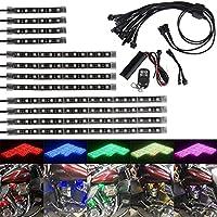 【HOZAN照明】LEDテープランプ 6連 4pcs24 + 12連4pcs48 +18 連4pcs72 LEDs ダッシュライティングキット サウンドアクティブ機能とワイヤレスリモートコントロール フルカラー フットランプ 車内装飾用 多種フラッシュモード 全8色自由に切り替え リモコン付き 一年保証付き