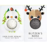 The Konjac Sponge Company Mini Pore Refiner Gift Set - Blitzen and Snowman, (Pack of 2)