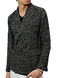 ( グラシアス GRACIAS ) ダブル テーラードジャケット メンズ ショート丈 W Pコート ピーコート スラブ ニット ブラック グレー 黒 ブルゾン ジャンパー ブレザー スーツ su49ct