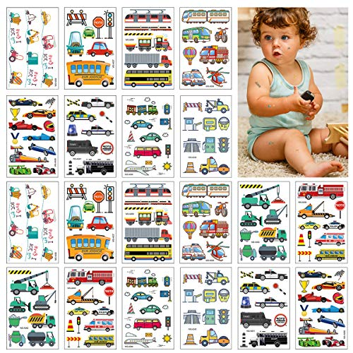 CIEOVO 20 Sheets Fun Constructions Vehicle Temporary Tattoos Waterproof Construction Stickers for Kids Birthday Construction Vehicle Party Supplies Decoration Goodie Bags Tractor Truck Stickers