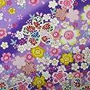 和柄 布地 生地 布 桜満開柄 (紫(C), 1mカット)