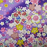 和柄 布地 生地 布 桜満開柄 (紫(C), 2mカット)