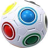 FCBB Fidget Ball,Spherical Magic Cube Rainbow Ball Cube Puzzle Brain Teasers Fidget Educational Toy (White)