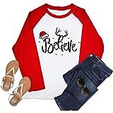 VILOVE Women's Christmas Believe Tshirt Women Funny Snowflake Believe Santa Long Sleeve Raglan Holiday Tops