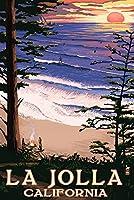 La Jolla、カリフォルニア–サンセットビーチ 12 x 18 Art Print LANT-50737-12x18