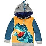 LitBud Toddler Boys Jacket Cartoon Dinosaur Animal Zipper Packaway Autumn Hoodies Coat for Kids 1-7 Years