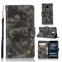 Nokia 3 財布 シェル, Nokia 3 シェル, MeetJP プレミアム レザー ジッパー 財布職能 al ポーチ リムーバブル カード スロット ポケット ポーチ フリップ 保護 カバー の Nokia 3 - Grey