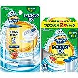 【まとめ買い】 スクラビングバブル トイレ洗浄剤 貼るタイプ トイレスタンプEX リフレッシュシトラスの香り 本体(ハンドル1本)+付替3本(14スタンプ分) セット