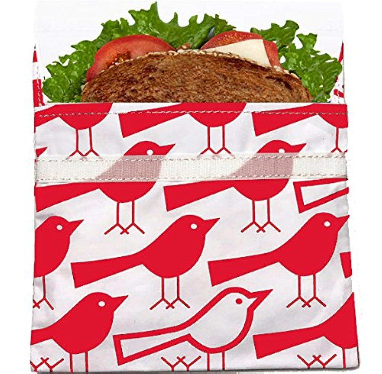 組み合わせるいちゃつく手書きLunchskins Reusable Sandwich Bag, Red Bird by LunchSkins