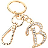 Keychain for Women AlphaAcc Purse Charms for Handbags Crystal Alphabet Initial Letter Pendant with Key Ring