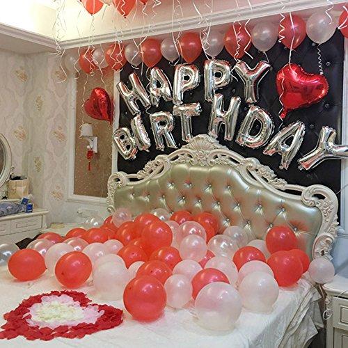 [해외]HAPPY BIRTHDAY 생일 파티 장식 풍선 세트 생일 장식 세련된 풍선 테이프 리본 펌프 꽃잎 함께 (레드)/HAPPY BIRTHDAY Birthday Party Interior Balloon Set Birthday Decorative Fashionable Balloon Tape Ribbon Pump Petal Accessory (Red)