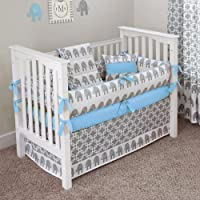 CUSTOM BOUTIQUE BABY BEDDING - Ele Blue - 5 Pc Crib Bedding Set by Sofia Bedding