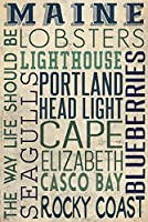 ポートランドヘッド灯台、メイン州–Typography 9 x 12 Art Print LANT-51938-9x12