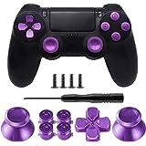 TOMSIN Metal Buttons for DualShock 4, Aluminum Metal Thumbsticks Analog Grip & Bullet Buttons & D-pad for PS4 Controller (Met