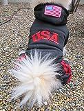 (スリーボックス)ThreeBox ドッグウェア USA ロゴ パーカー 秋冬 防寒 犬服 (M, 黒(ブラック))