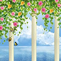 Ljjlm カスタム3D壁画写真壁紙ウィンドウビュー花つる蝶海の壁壁画クリエイティブウォールペーパーオンザウォール3D-360X240CM