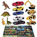 Joyjoz ミニカー おもちゃ車 恐竜 おもちゃ 男の子 大きな レジャーシート きょうりゅう おもちゃ ティラノサウルス 知育玩具 ショベルカー おもちゃ プレイマット 道路 40 Pcs
