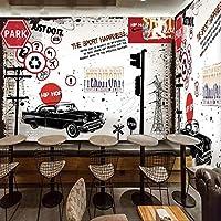 Mbwlkj カスタム3D壁画手描きのストリート落書き壁画バーコーヒーショップ背景壁紙レストラン寝室壁画-250cmx175cm