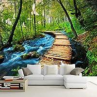 Mingld 3D壁の壁画の壁紙中国の自然の風景木の橋森林寝具部屋のソファ背景カスタマイズされた写真の壁紙-200X140Cm
