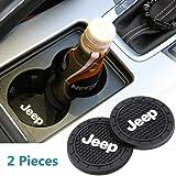 HisAuto 2個の直径70mmの車のロゴカップホルダーマット、ジープJeepの車のカップホルダーインテリアアクセサリー (ジープJeep)