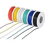 TUOFENG 22AWG PVC電線キット-6種類の色付き9メートルスプール-22ゲージより線-DIY用錫メッキ銅フックワイヤキット