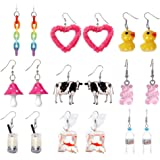 Cute Y2k Earring Set Cool Funny Weird Creative Quirky Rainbow Indie Aesthetic Goldfish Duck Cow Mushroom Earrings for Girls W