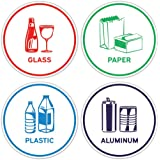 Recycling Sorting Sticker Signs Decals - Paper Aluminum Plastic Glass (Set of 4 Stickers)