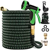"Maxee 50FT Garden Hose, Kink Free Expandable Garden Hose with 9 Function Spray Nozzle 3/4"" Solid Brass Fittings, Double Layer"