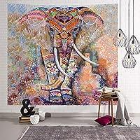 ボーホタペストリー壁掛け, 創造的な象と夢のキャッチャーの装飾は、短い豪華な壁のカーペットビーチタオルのベッドスプレッドを印刷された布をぶら下げ-b 150x150cm(59x59inch)