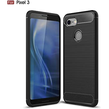 A-VIDET Google Pixel 3 ケース Pixel3 ケース 炭素繊維カバー 高品質TPU シリコン ケース 保護バンパー 弾力性付き (ブラック)