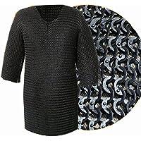 Queen Brass ChainmailシャツフラットRiveted with座金ブラックチェーンメールHauberk標準ブラック