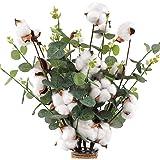 """CEWOR 6pcs Cotton Stems 23.5"""" Cotton Flowers 4 Cotton Heads with Eucalyptus Leaves Per Stem Cotton Floral Stems for Home Farm"""