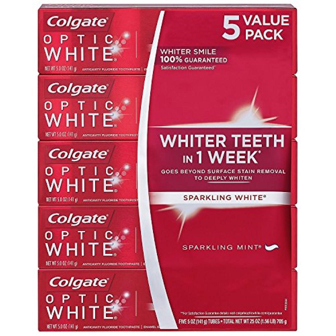 毒モロニック謎海外直送品 Colgate Optic White コルゲート オプティック ホワイト スパークリングミント141g ×5本 [Pack of 5]