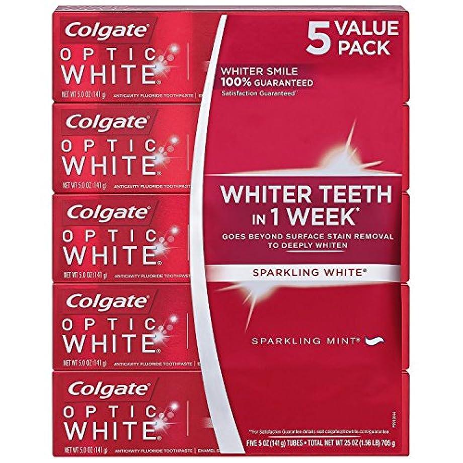 淡い発音する警告する海外直送品 Colgate Optic White コルゲート オプティック ホワイト スパークリングミント141g ×5本 [Pack of 5]