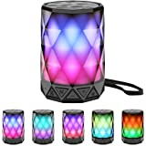 LED Portable Bluetooth Speakers with Lights, LFS Night Light Waterproof,Speakers Color Change Computer Speaker,Mic TF Card TW