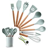Silicone Kitchen Utensil Set, Heat-Resistant Non-Stick Silicone Cooking Tools (Wood)