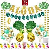 ルアウパーティー用品 ハワイアンアロハテーマパーティーデコレーション 大きなゴールドグリッターアロハとバナー トロピカルパームリーフ ケーキトッパーバルーン ストロー レディースとメンズ ルアウパーティーギフト 77個パック