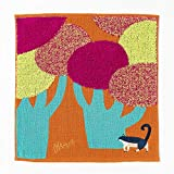 楠橋紋織 ハンドタオル オレンジ 約25cm×25cm Miw ガーゼパイルハンカチ ネコ A-66649-86-OR