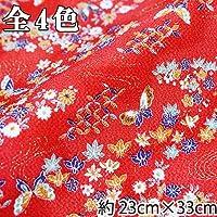 【INAZUMA】ちりめん金彩はぎれ/カットクロス 約23×33cm 蝶と紅葉柄 F-101-1G 赤