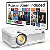 """QKK Mini Projector 5500 Portable LCD Projector [100"""" Projector Screen Included] Full HD 1080P Supported, Compatible with Smar"""