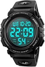 Timever(タイムエバー)デジタル腕時計 メンズ 防水腕時計 led watch スポーツウォッチ アラーム ストップウォッチ機能 50M防水時計 文字が大きくて見やすい 日本語取扱説明書付き