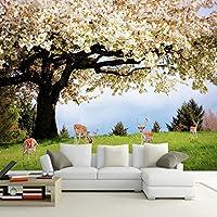 Weaeo カスタム牧歌的なスタイル桜の木エルク写真壁画ロマンチックな自然景観壁画の壁紙リビングルーム家の装飾3D-200X140Cm