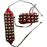KVR Kathak Bharatnatayam Indian Traditional Dance anklets Brass Bells ghungroo Pair Tied Over Velvet pad for Comfortable Perf