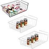 3 Pack Under Shelf Basket Pantry Organization and Storage,16.8 x 10.3 x 4.9 in White Bookshelf Wire Hanging Baskets Shelves f